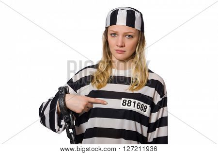 Prisoner isolated on the white background