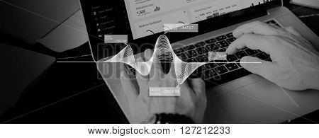 Businessman Using Laptop Working Graphic Concept
