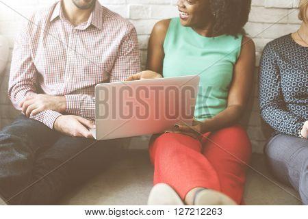 Friends Connection Laptop Discussion Technology Concept