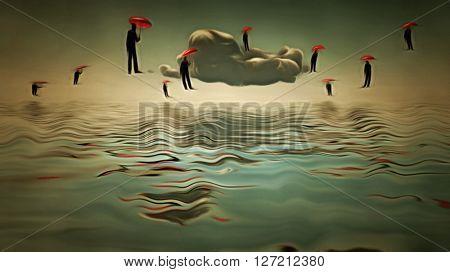 Umbrella men hover in sky  in Surreal Scene 3D Render