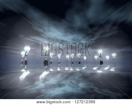 Flooding Men with Ideas 3D Render