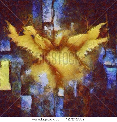 Angelic Wings Abstraction 3D Render