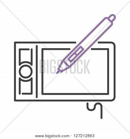 Hand drawing digital stylus sensor pen digital design technology art line vector icon. Stylus pen technology and sensor display modern stylus pen. Graphic pencil for touch screen stylus pen.