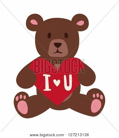 Gift Bear holding a red heart isolated on white background. Valentine Day or Wedding gift symbol bear. Gift bear toy vector icon. Cute cartoon bear gift