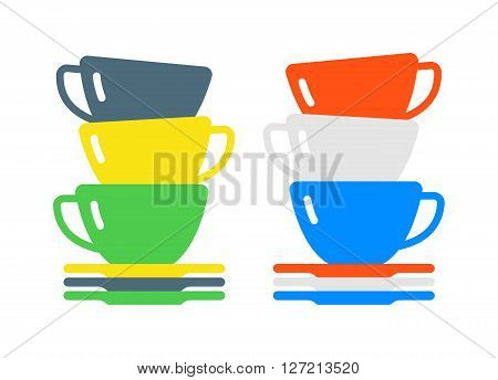 Cartoon tes cup and empty kitchen cups. Handle tea cartoon cup breakfast food and flat tea cups. Coffee or tea or drink cafe morning beverage kitchen accessory cups flat vector. Cartoon vector cups
