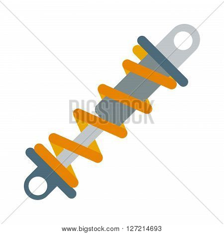 Flat vector illustration of shock absorber icon metal car damper coil equipment. Shock absorbers equipment and car shock absorbers. Metallic machine shock absorbers motorcycle pressure mechanical tool