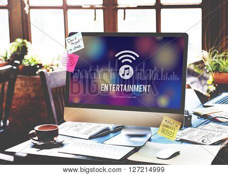 Entertainment Broadcasting Media Online Music Concept