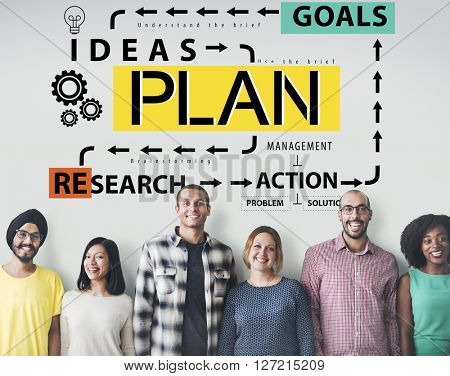 Plan Strategy Ideas Mission Solution Research Action Concept