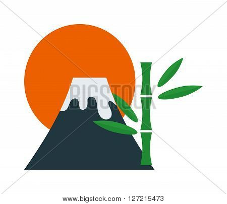 Volcano flowing with hot lava mountain crater danger smoke nature eruption vector illustration. Volcano flowing hot lava and danger volcano flowing with smoke. Crater volcano flowing cartoon explosion