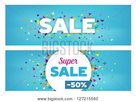 Sales banners - modern design made of geometrical shapes. Can be used to advertise sales events and discounts.