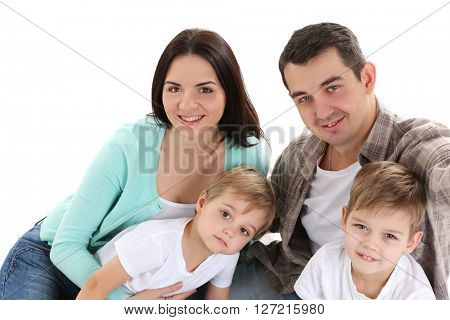 Happy family making selfie isolated on white