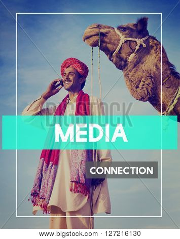 Indian Man Global Connection Networking Concept
