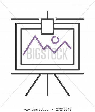 Graph with two lines on whiteboard flipchart icon business presentation vector illustration. Business presentation flipchart icon and flipchart board icon. Flipchart icon growth report symbol.