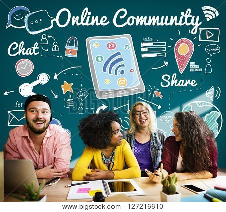 Online Community Networking Connection Concept