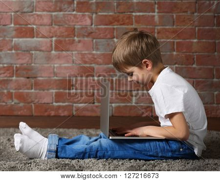 Little boy using laptop on fur carpet against brick wall background