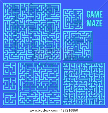 Maze Game Set. Labyrinth Game with Entry and Exit. Find the Way Out Concept. Transportation. Logistics Abstract Background Concept. Business Path Concept. Vector Illustration. poster