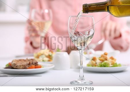 Dinner with wine in restaurant