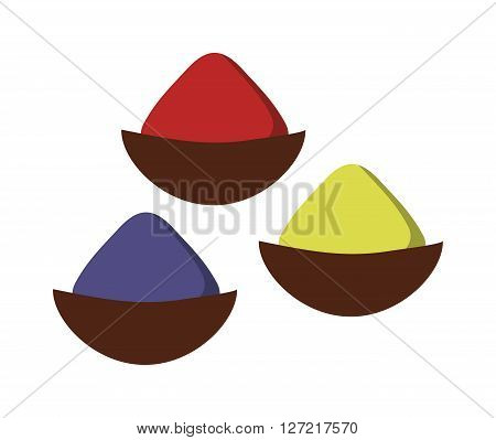 Indian seasoning spices in little stainless wooden bowls vector. Thai dried herbs and seasoning spices and cuisine ingredient seasoning spices. Powder chili herb seasoning spices condiment cooking.