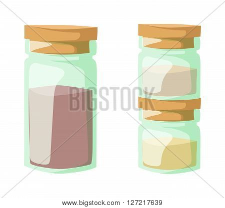 Jar with cooking spices and ingredients, pepper, garlic, paprika, curry vector illustration. Powder spices in glass jars and cooking powder spices in glass jars. Aromatic culinary powder spices.