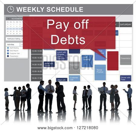 Pay Off Debts Loan Money Bankruptcy Bill Credit Concept