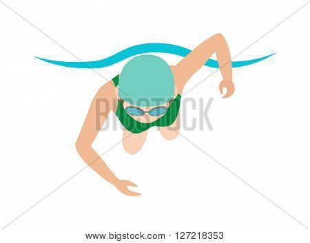 Sport pool swimmer and swimmer young girl. Swimmer race action professional person training. Dynamic and fit swimmer woman in cap breathing performing butterfly stroke pool sport vector illustration.