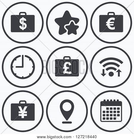 Clock, wifi and stars icons. Businessman case icons. Cash money diplomat signs. Dollar, euro and pound symbols. Calendar symbol.
