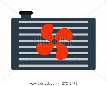 Car radiator heater icon auto parts cooling, engine, metal equipment vector illustration. Automobile grille radiator icon and car radiator icon. Industrial aluminum truck radiator icon.