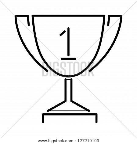 Vector winner gold award thin line cup and champion golden award cup design symbol. Trophy gold award cup flat icon vector illustration. Award flat icon isolated. Winner award cup line art.