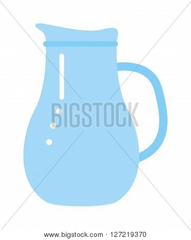 Vector jug blue isolated on white. Jug water or milk isolated. Jug vector silhouette. Jug full or empty of water