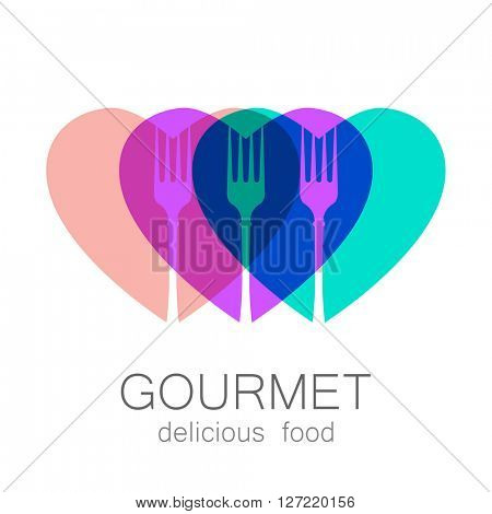 Gourmet logo. Delicious food. Lovely food logo template. Love Food logo. Template logo for restaurant, cafe, fast food, store food. Modern logo.