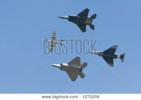 4 Generation Of Fighter Fly Together