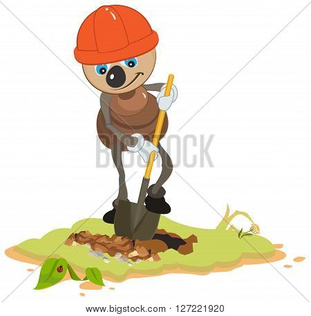 Ant Worker digging shovel pit. Isolated on white vector illustration