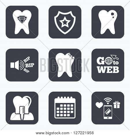 Mobile payments, wifi and calendar icons. Dental care icons. Caries tooth sign. Tooth endosseous implant symbol. Tooth crystal jewellery. Go to web symbol.