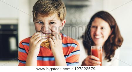 Parent Child Kid Meal Juice Bread Boy Starving Concept