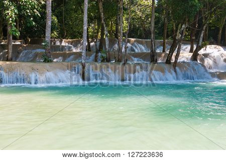 Tad Sae Waterfall is a beautiful tourist sites, Luang Prabang, Laos.