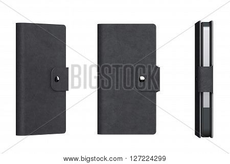 Black Leather Mobile Phone Case on a white background. 3d Rendering