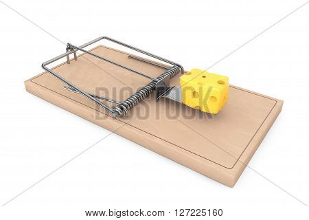 Mouse trap with a piece of cheese on a white background. 3d Rendering