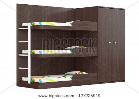 Wooden Bunk Bed on a white background. 3d Rendering