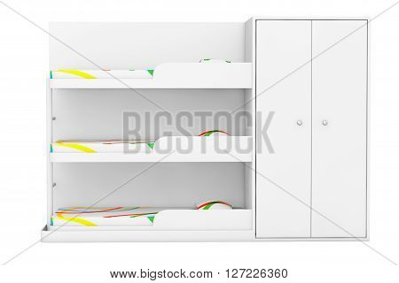 Simple Bunk Bed on a white background. 3d Rendering
