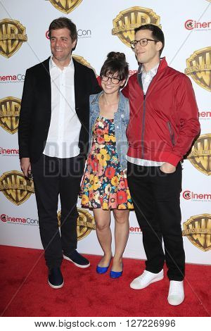 LAS VEGAS - APR 12:  Nicholas Stoller, Katie Crown, Andy Samberg at the Warner Bros. Pictures Presentation at CinemaCon at the Caesars Palace on April 12, 2016 in Las Vegas, CA