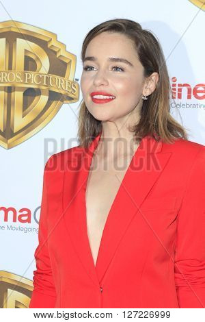 LAS VEGAS - APR 12:  Emilia Clarke at the Warner Bros. Pictures Presentation at CinemaCon at the Caesars Palace on April 12, 2016 in Las Vegas, CA