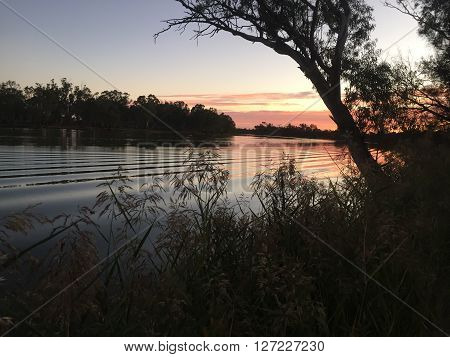 Sunset River Murray in the Riverland South Australia