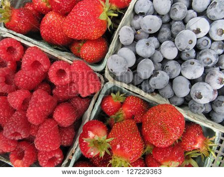 Mixed berries, blueberries, strawberries and raspberries in containers