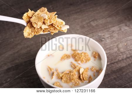 Cereal With Wood Backgroud