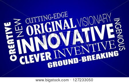 Innovative Creative Cutting Edge Improved New Product Word Collage