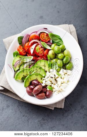 Mediterranean Vegetable Bowl with Feta Cheese and Olives