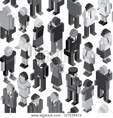 Monochrome Seamless Pattern with Crowd of Random People