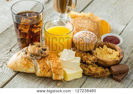 Selection of food and drinks that are bad for your health, copy space