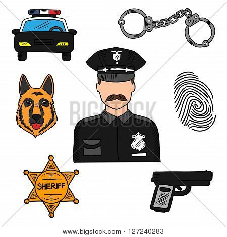 Policeman sketch icon for law, security and police professions design with patrol car, handcuffs, sheriff star, handgun, police dog, fingerprint and officer in black uniform in the center