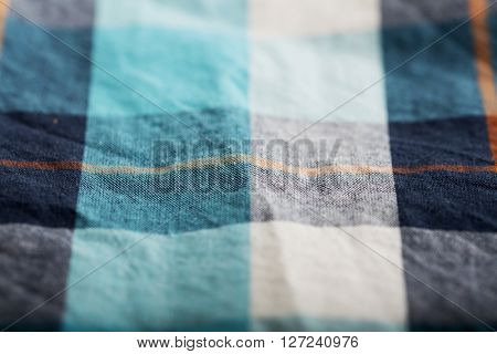 Flannel checkered turquoise and ecru background